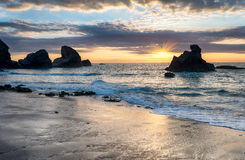 Sunset at Porthcothan Royalty Free Stock Photos