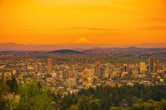 Sunset in Portland Oregon Royalty Free Stock Photo