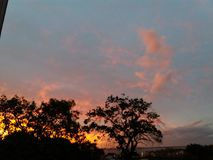 Sunset in Porto Alegre, Brazil. Afternoon in the city stock image