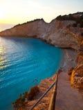 Sunset at Porto Katsiki. (Port of the goat) in Lefkada Greece royalty free stock image