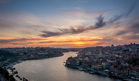 Sunset in Porto, Portugal. Douro river. Royalty Free Stock Photo