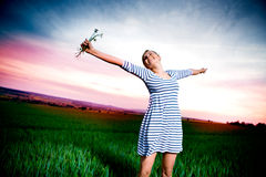 Sunset portrait of a woman Royalty Free Stock Photos