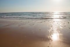 Sunset in Portugal. Sunset on Atlantic coast of Portugal at Praia da Areia Branca stock image