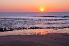 Sunset in Portugal. Sunset on Atlantic coast of Portugal at Praia da Areia Branca stock photography
