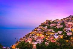 Sunset at Positano. Amalfi Coast Italy Stock Photography