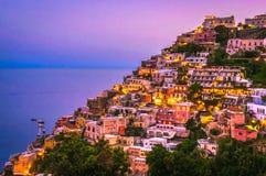 Sunset at Positano. Amalfi Coast, Italy Royalty Free Stock Photography