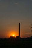 Sunset and power plant Stock Photo