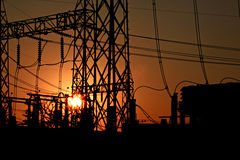 Sunset of powerhouse. Stock Photography