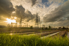 Sunset of powerhouse Stock Images