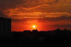 Sunset in poznan poland royalty free stock photography