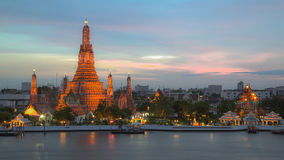 Sunset at Pra Prang of Wat Arun Temple Royalty Free Stock Photography