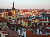 Sunset in Prague. Sunset on the Prague\' s roofs Royalty Free Stock Images