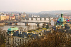 Sunset Prague Bridges view, Czech Republic Stock Images