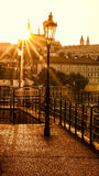 Sunset in Prague. The dock below the Prague Castle Royalty Free Stock Photo