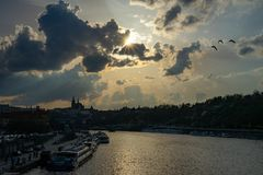 Sunset in Prague, view on the Prague Castle stock photography