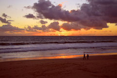 Sunset on Praia Da Gale Beach Stock Photo