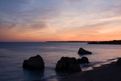 Sunset - Praia da rocha beach,portugal-algarve Royalty Free Stock Image