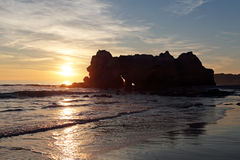 Sunset at Praia da Rocha in Portugal Royalty Free Stock Images