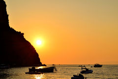 Sunset in Praia a Mare Stock Images