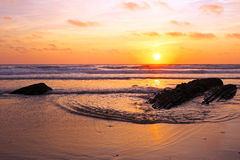Sunset at praia vale figuiras in Portugal Royalty Free Stock Photos