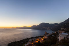A sunset from Praiano, from costiera amalfitana Stock Photography