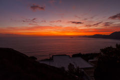 A sunset from Praiano, from costiera amalfitana.  Stock Photography