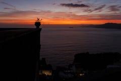 A sunset from Praiano, from costiera amalfitana royalty free stock photo