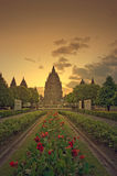 Sunset at prambanan temple Royalty Free Stock Image