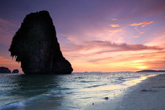 Sunset Pranang beach. Railay , Krabi Province Stock Images