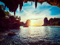 Sunset on Pranang beach. Railay , Krabi Province Thailand Stock Photography