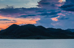 Sunset at Pranburi dam Thailand Stock Image