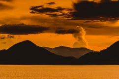 Sunset at Pranburi dam Thailand Royalty Free Stock Images