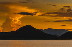 Sunset at Pranburi dam Thailand Stock Photography