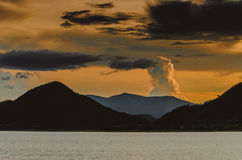 Sunset at Pranburi dam Thailand Royalty Free Stock Photo