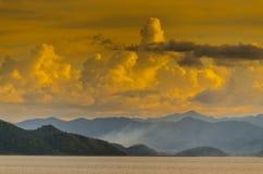 Sunset at Pranburi dam Thailand Stock Photo