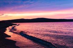 Sunset of primorsko-bulgaria stock images
