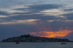 Sunset in Primosten, Croatia. Sunset in Primosten old town, Croatia Royalty Free Stock Photo