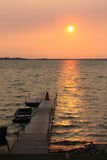 Sunset at Prince Edward County, Canada. This is the finest bay mouth sandbar and coastal sand dune systems in Ontario, Canada. Taken in early August, late summer Royalty Free Stock Photos