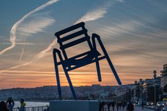 Blue Chair : Sunset in Nice, French Riviera stock photos