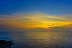 Sunset at Promthep Cape in Phuket beach of Thailand Royalty Free Stock Images