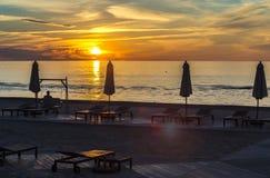 Sunset at a public beach of Jurmala Royalty Free Stock Photos