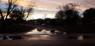 Sunset puddle stock image