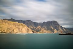 Beautiful view on the west coast of Gran Canaria. Sunset at Puerto de las Nieves, Gran Canaria, Spain Royalty Free Stock Photos