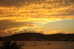 Sunset in Puerto Rico. This is a beautiful sunset over a harbor in Culebra, Puerto Rico Royalty Free Stock Image