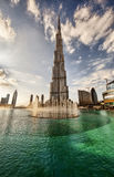 Sunset and puffy clouds in Dubai, UAE Royalty Free Stock Photography