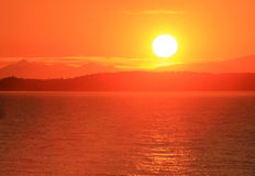 Sunset on the Puget sound. stock image