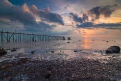 Sunset at punggor beach. This punggor beach located at Johor, Malaysia Stock Images