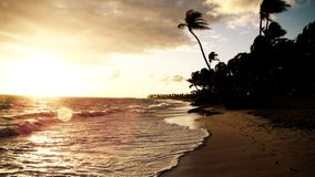 Sunset on Punta Cana beach Royalty Free Stock Images