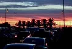Sunset in Punta del Este stock images