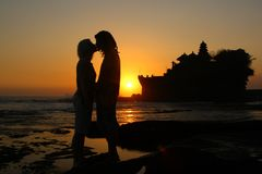 Sunset by Pura Tanah Lot Royalty Free Stock Images
